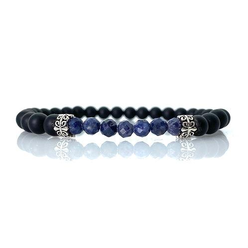 Sapphire Blue faceted/ matt black onyx Bracelet 6mm beads