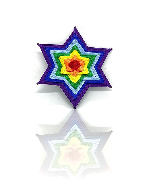 DIY 6rays rainbow cord Mandala