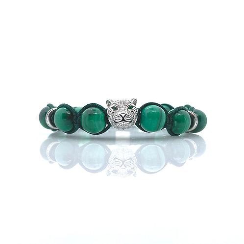 NATSUE MACRAME MALACHITE tiger beads bracelet SS925