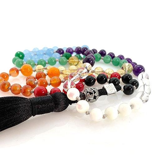 Rainbow Neckless 8mm gemstone beads SS925 feather bead