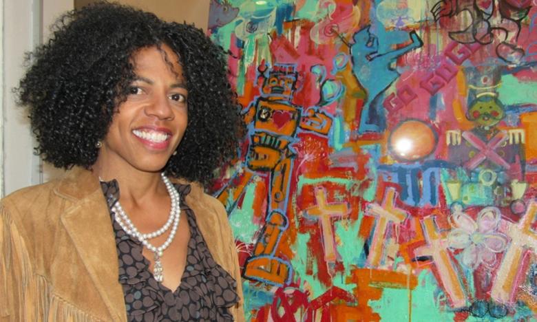 """Lisa Beane präsentiert in der Galerie Madesta ihr Werk """"Puerto Rico"""". Foto: Sendtner"""