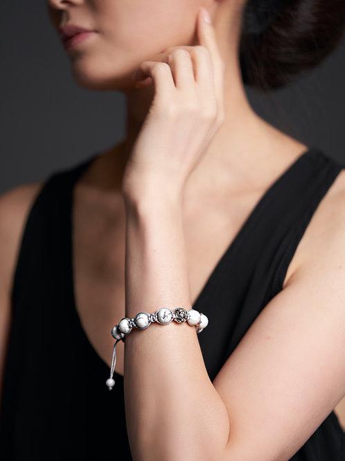 Howlite women's bracelet grey cord and SS925 beads cross