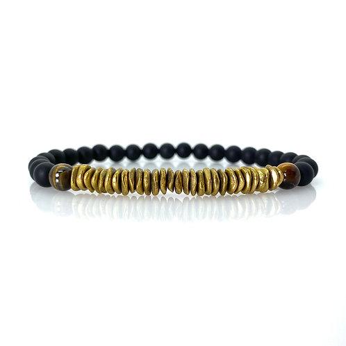 Tiger's eye gemstone matt black onyx and brass Bracelet 6mm beads