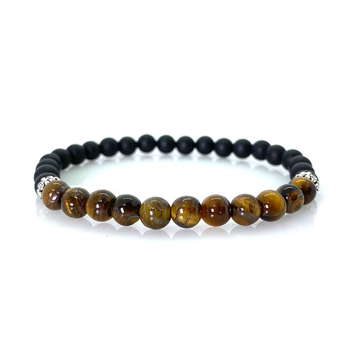 Tiger eye gemstone / matt black onyx Bracelet 6mm beads