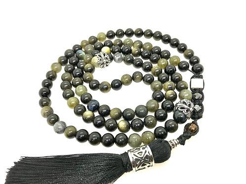 Labradorite, Obsidian, Tourmaline, Necklace 108 Bead Mala, SS925 silk Tassel