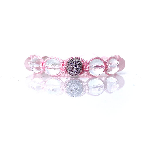 Lotus Rose quartz + Clear Quartz Love  Bracelet 10mm beads