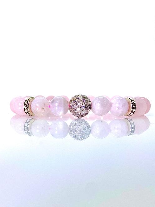 Christine SS925 + Rose quartz + Moonstone Bracelet 10mm beads