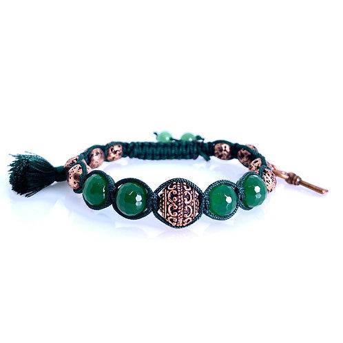 Agate green faceted copper lava stone tassel copper key Bracelet