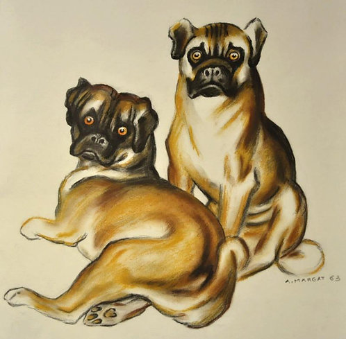 Andre Margat - Drawing 2 Carlins (Pugs)