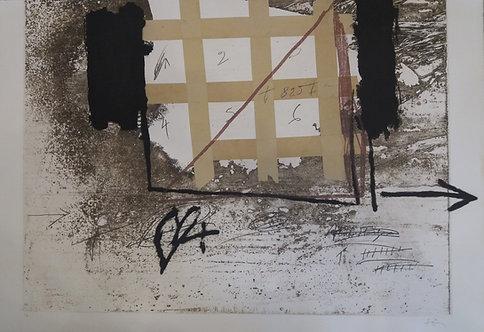 Antoni Tàpies - Grille de papier collé