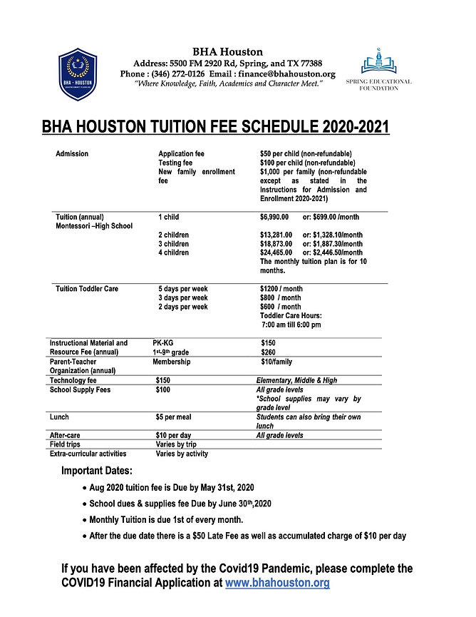 BHA Houston Fee Structure & School Dues