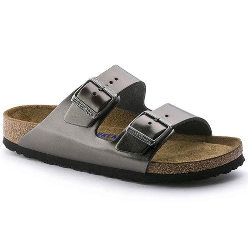 Arizona Soft Footbed Leather, Metallic Anthracite