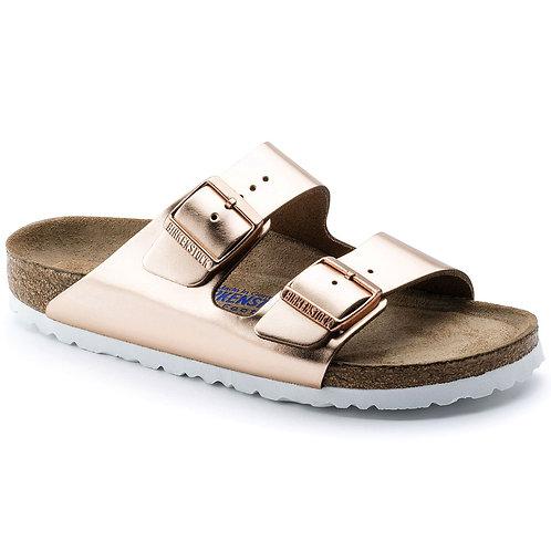 Arizona Soft Footbed Leather, Metallic Copper/White