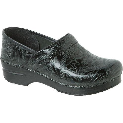 Dansko LT Pro, Black Floral Tooled Clog