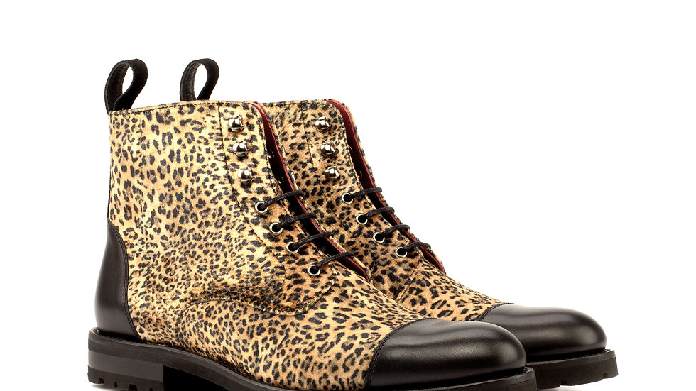Women's Sartorial Leopard Lace Up Captoe Boots