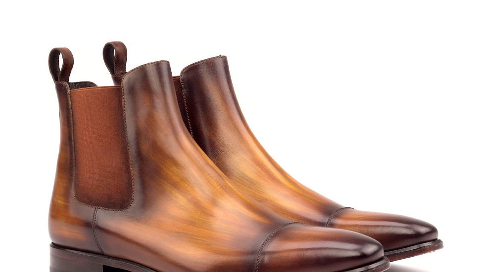Cognac Patina Chelsea Boots