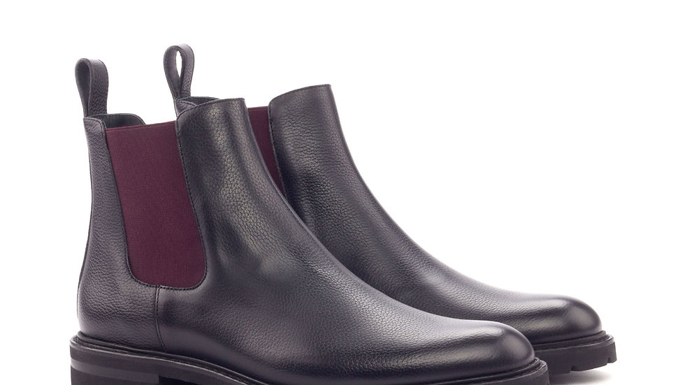 Women's Black Grain Chelsea Boots