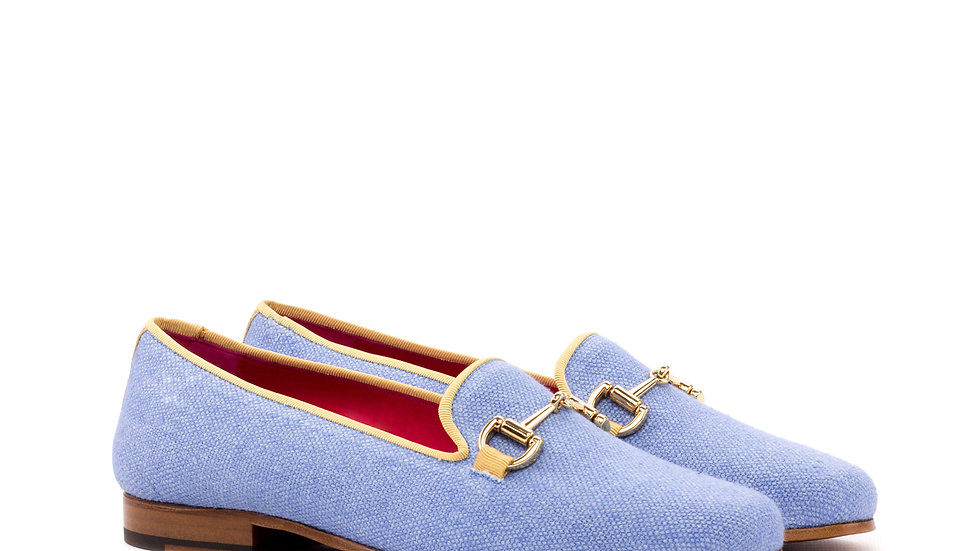 Women's Sky Blue Linen Delayla Loafer
