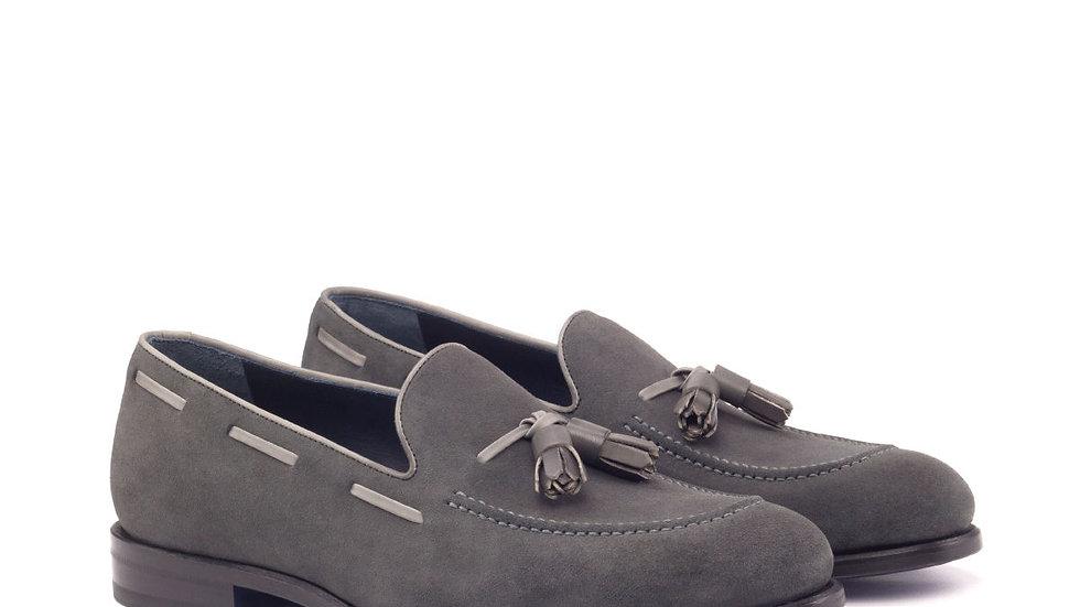 Pewter Suede Tassle Loafer