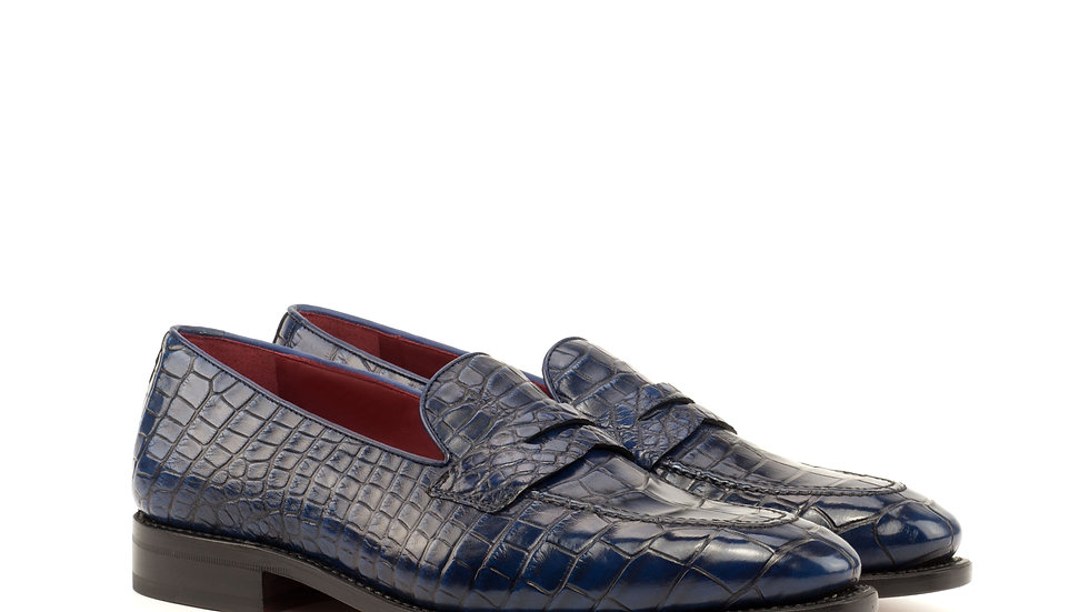 Navy Exotic Alligator Loafer