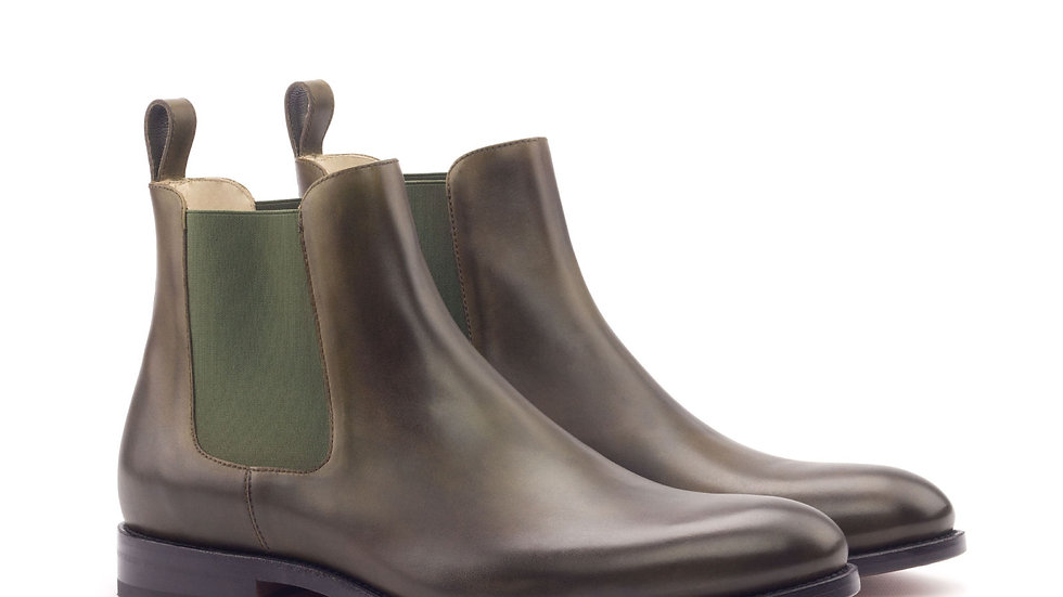 Olive Chelsea Boots