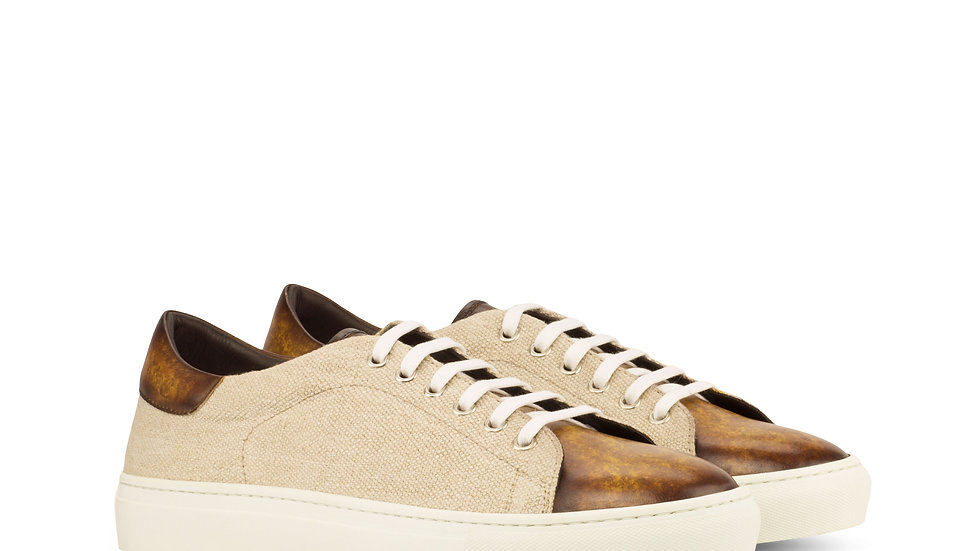 Ice Cognac Linen Patina Trainer