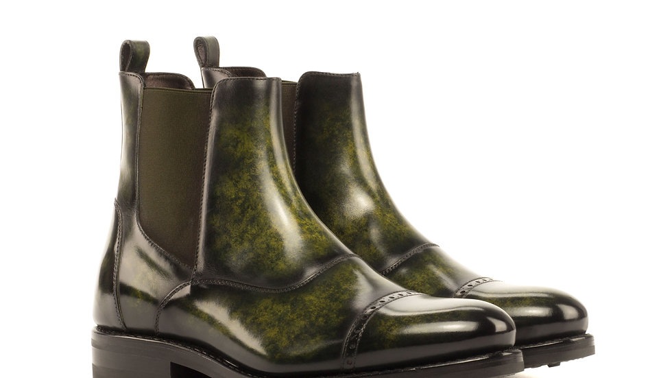 Forest Green Patina Chelsea Boots