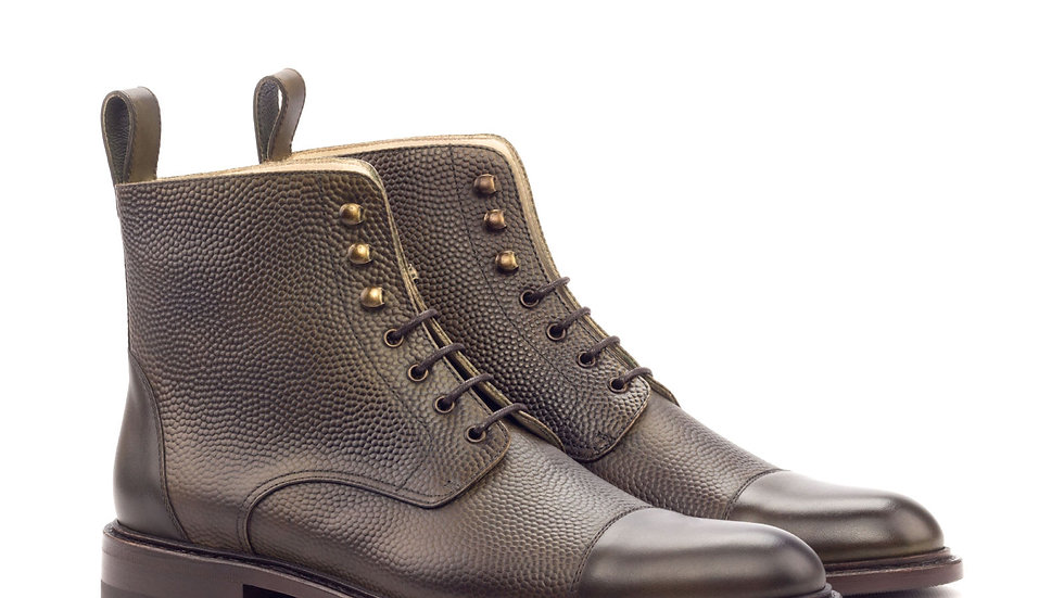 Women's Olive Pebble Grain Lace Up Captoe Boots