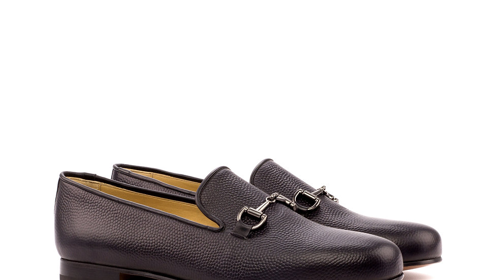 Black Pebble Grain Wellington Loafer