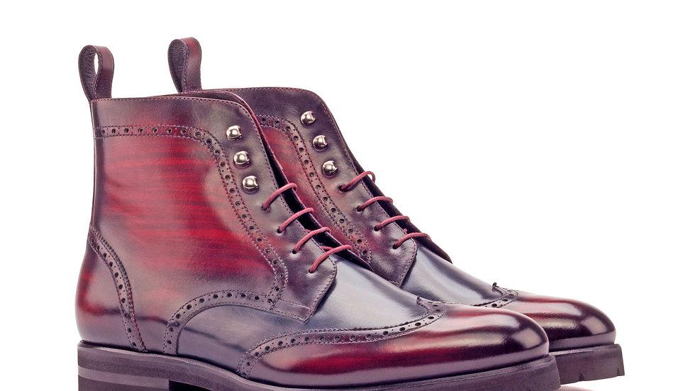 Mahogany Patina Military Brogue Boots