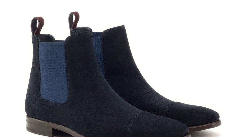 Navy Suede Chelsea Boots