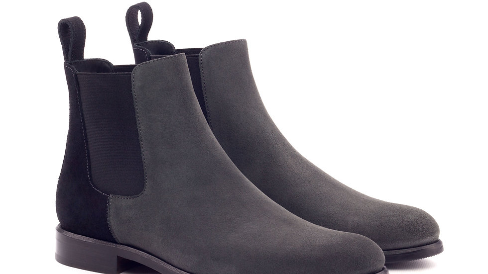 Women's Black Pewter Suede Chelsea Boots