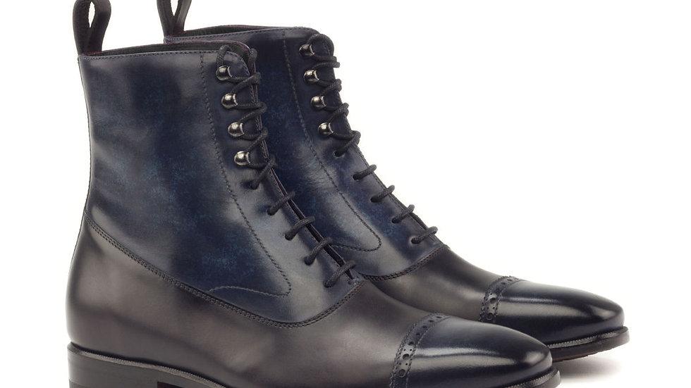 Black Denim Patina Balmoral Boots
