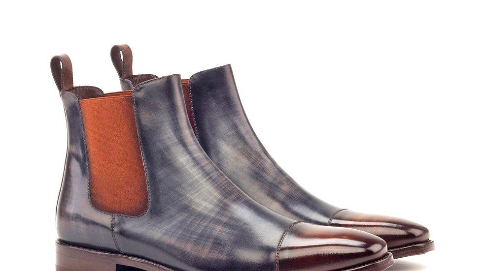 Mocha Grey Patina Chelsea Boots