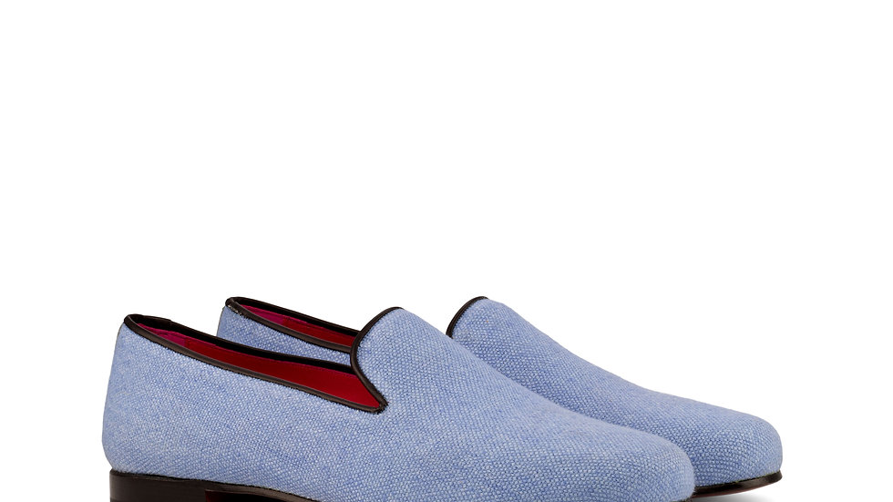 Sky Blue Linen Wellington Loafer