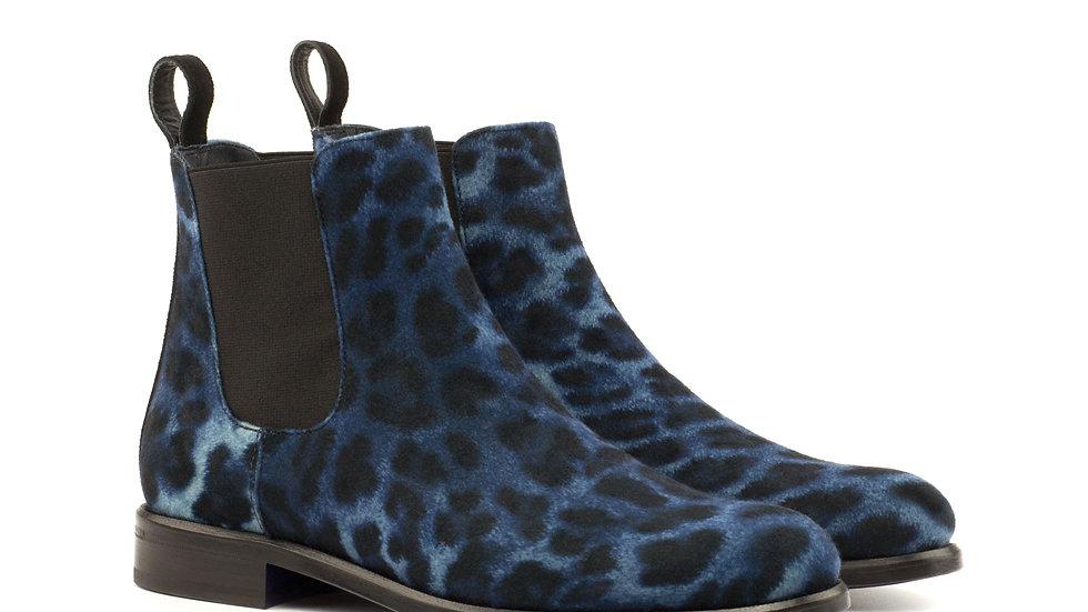 Women's Sartorial Navy Leopard Chelsea Boots