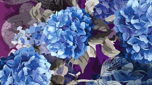 Ultra Violet Hydrangea Pocket Square - Dorota Stu