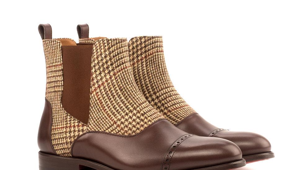 Mocha Sartorial Tweed Chelsea Boots