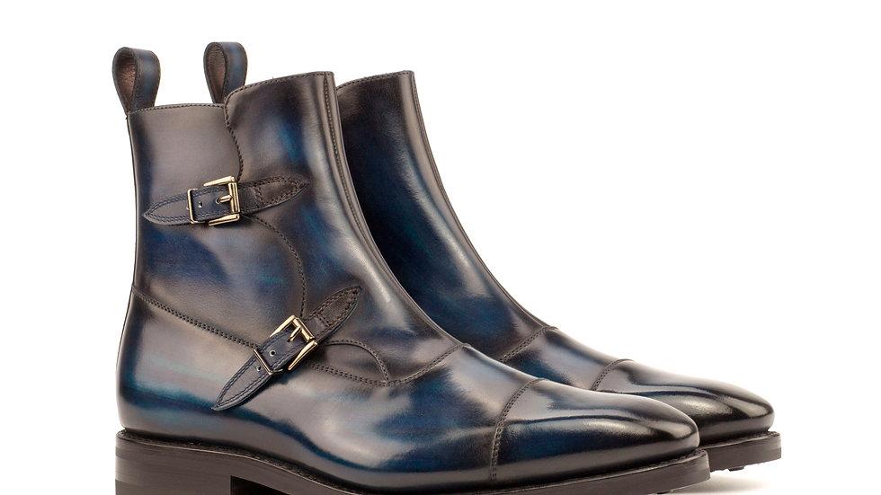 Navy Denim Patina Octavian Buckle Boots