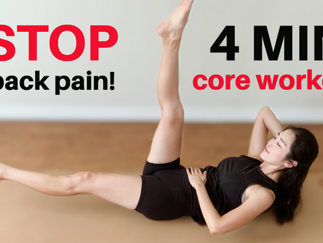 4min SAFE Core Yoga Workout For Back Pain Relief   Back & Neck Friendly