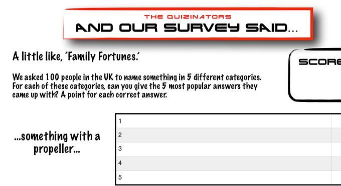 Family Fortunes Type Handout 4