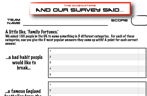 Family Fortunes Type Handout 6