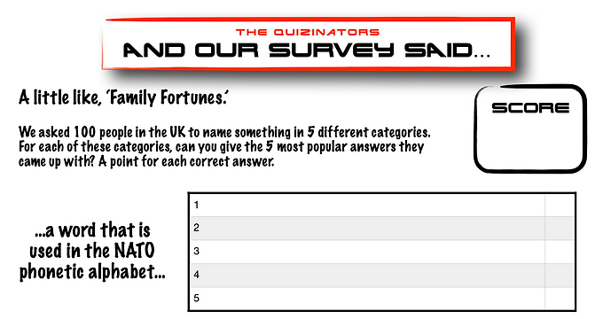 Family Fortunes Type Handout 14