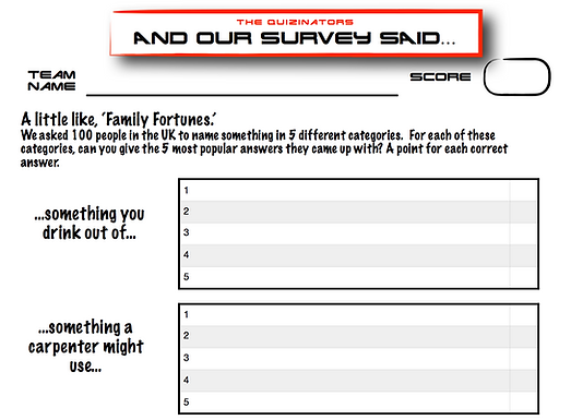 Family Fortunes Type Handout 9