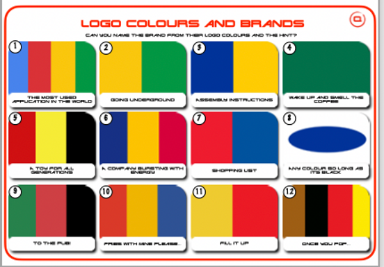 Logo Colours and Brands with Clues