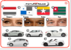 Mixed Picture Round 8: Flags / Celebrity Eyes / Car Makes