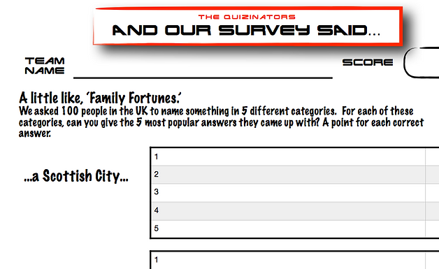 Family Fortunes Type Handout 7
