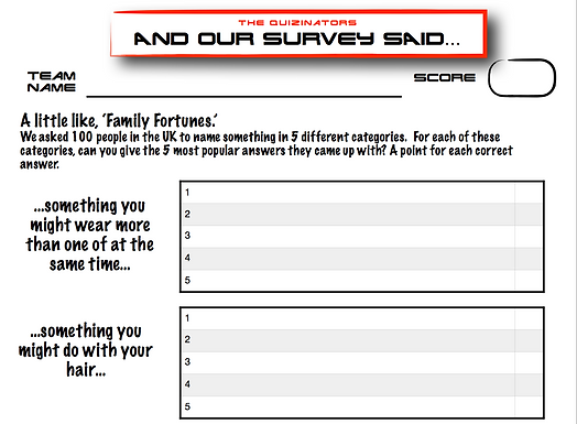 Family Fortunes Type Handout 10