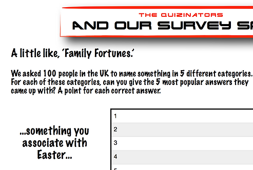 Family Fortunes Type Handout 5