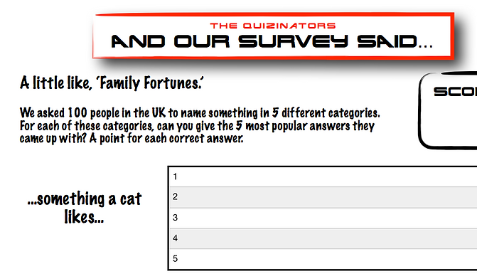 Family Fortunes Type Handout 3